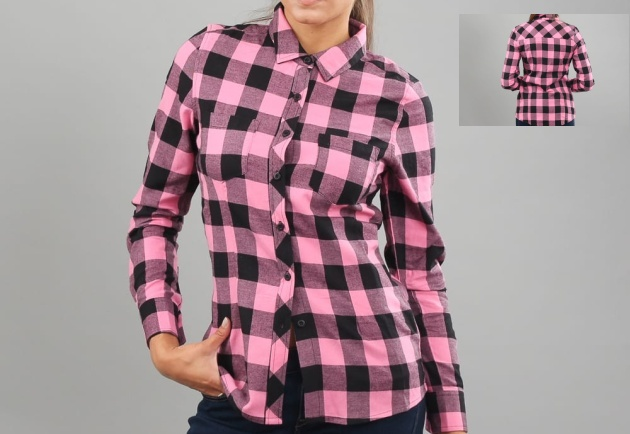 Urban Classics Ladies Turnup Checked Flanell Shirt