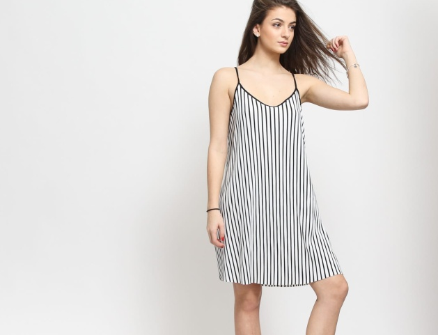 Urban Classics Ladies Striped Pleated Slip Dress